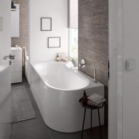 Bette Lux Oval V Silhouette corner bath white bath, with BetteAnti-slip, with BetteGlaze Plus, white waste set, with water inlet