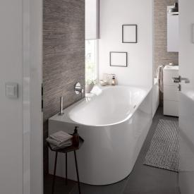 Bette Lux Oval V Silhouette corner bath, right corner white bath, with BetteGlaze Plus, chrome waste set, with water inlet