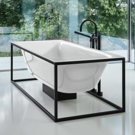 Bette Lux Shape special shaped bath with Sensory waste set incl. base frame white bath, black frame, white waste set, with BetteGlaze Plus
