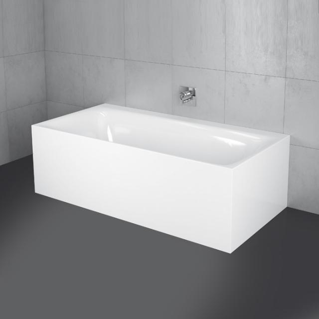 Bette Lux I Silhouette Side back-to-wall bath with panelling white bath, with BetteGlaze Plus, white waste set, with water inlet