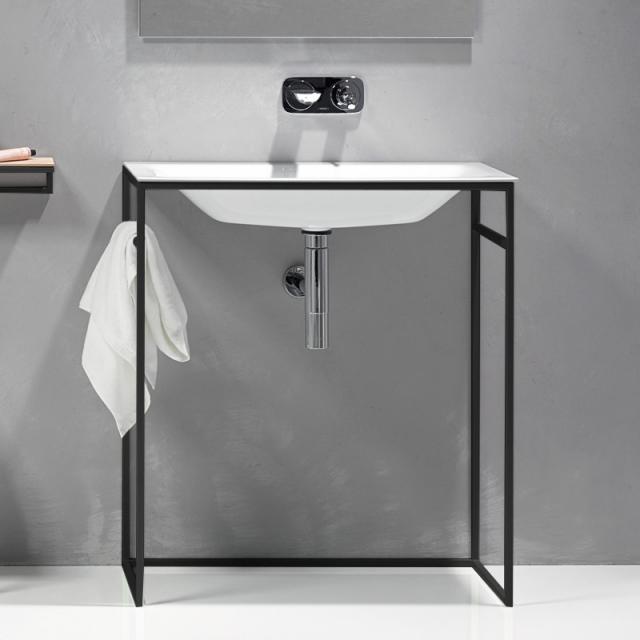 Bette Lux Shape washbasin with frame white, BetteGlaze/matt black