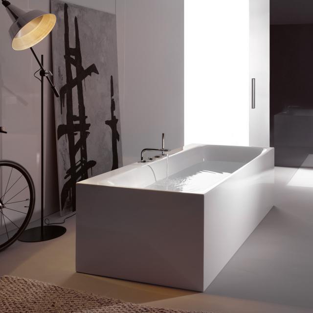 Bette Lux Silhouette Side freestanding rectangular bath white bath, with BetteGlaze Plus, white waste set