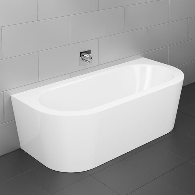 Bette Starlet I Silhouette back-to-wall bath with panelling white bath, with BetteGlaze Plus, white waste set, with water inlet