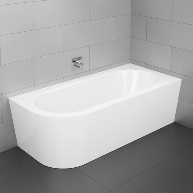 Bette Starlet Silhouette corner bath with panelling white bath, with BetteGlaze Plus, chrome waste set, with water inlet