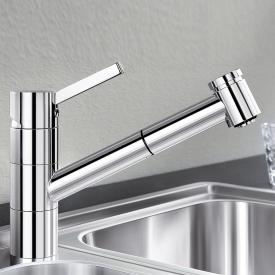 Blanco Tivo-S single lever kitchen mixer, with pull-out spray, for low pressure chrome