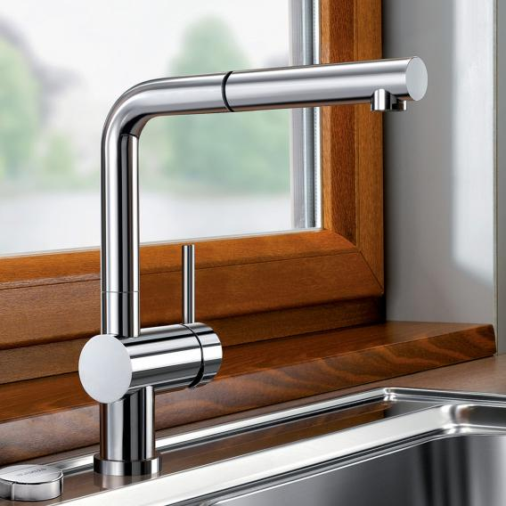 Blanco Linus-S-F single lever kitchen mixer, with pull-out spray, for front-of-window installation chrome