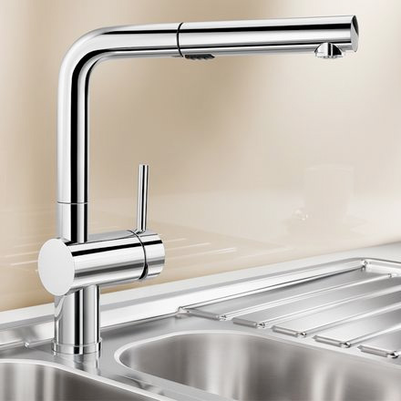 Blanco Linus-S Vario single lever kitchen mixer, with pull-out spray