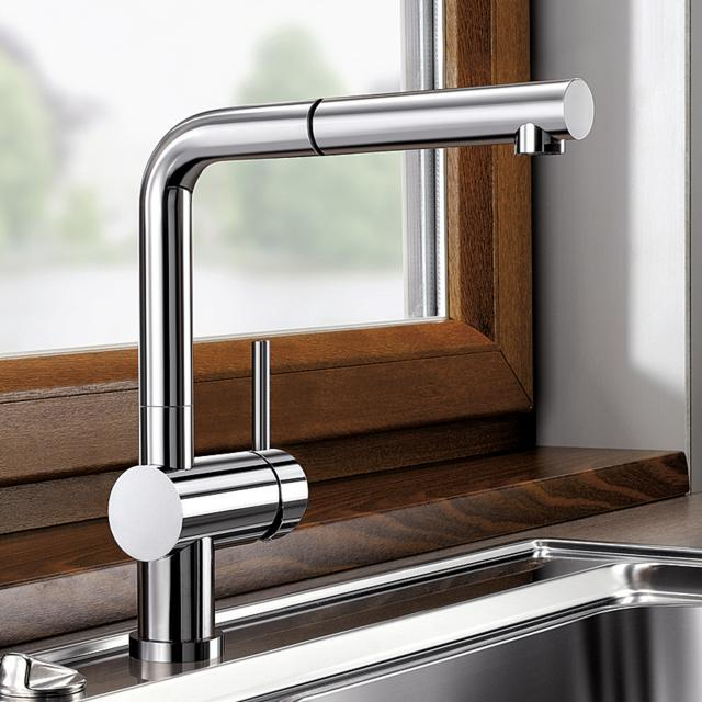 Blanco Linus-S single lever kitchen mixer, with pull-out spray, for low pressure chrome