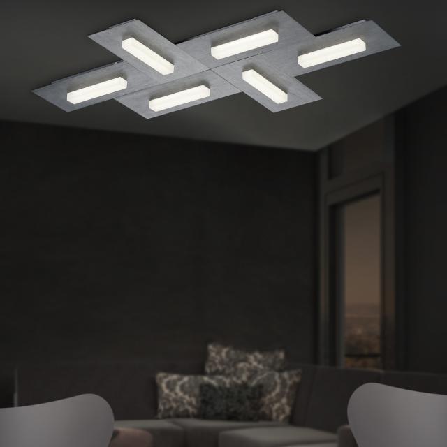 B-LEUCHTEN DOMINO L LED ceiling light, 6 heads