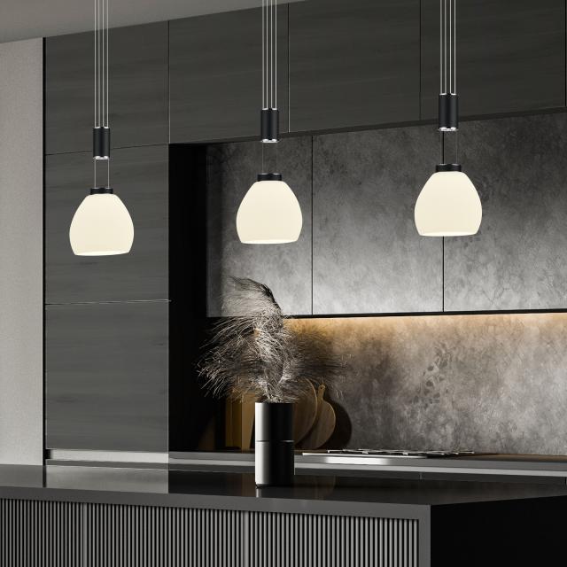 B-LEUCHTEN SAM LED pendant light with dimmer, 4 heads, elongated