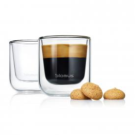 Blomus NERO set of 2 insulated espresso glasses