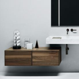 Boffi Flyer hanging undercounter unit with drawer and inside drawer walnut