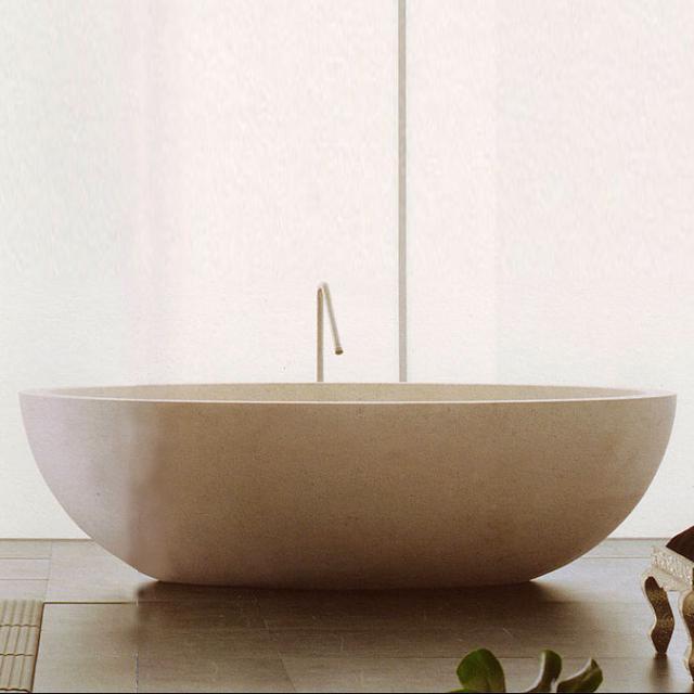 Boffi I FIUMI PO freestanding oval bath bihara stone