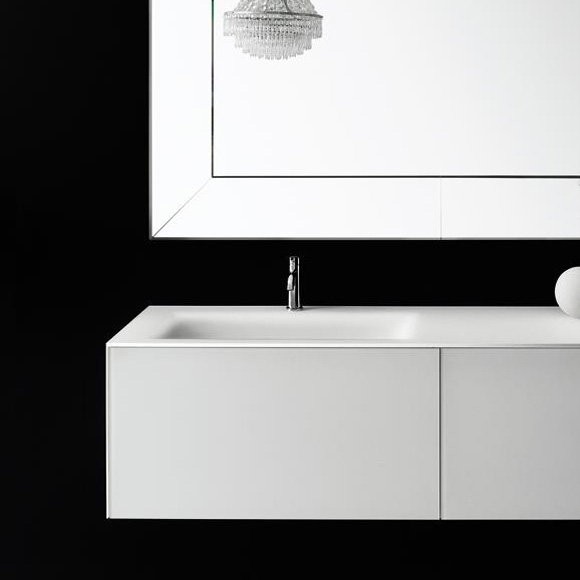 Boffi Soho BWRPB090SH vanity unit for drop-in washbasin with drawer with siphon cut-out white