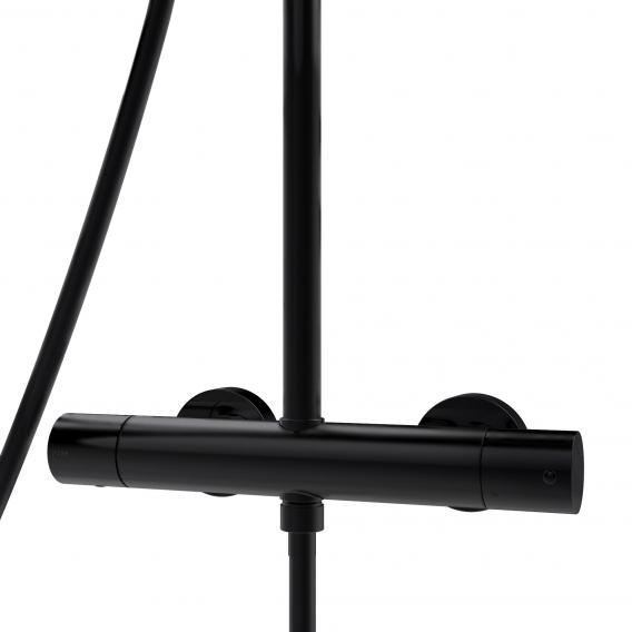 Bossini Black Cosmo shower system with thermostat fitting