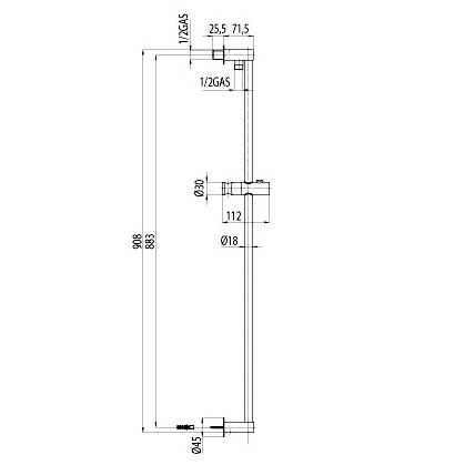 Bossini shower rail 900 mm