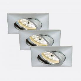 Briloner Attach LED three recessed spotlights, square, adjustable