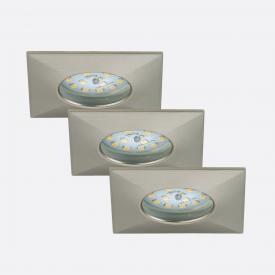 Briloner Attach LED three recessed spotlights, square