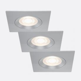 Briloner set of 3 LED recessed lights, square, non-adjustable