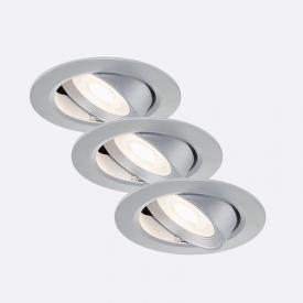 Briloner set of 3 LED recessed lights, round, tiltable
