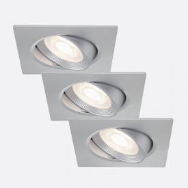 Briloner set of 3 LED recessed lights, square, tiltable