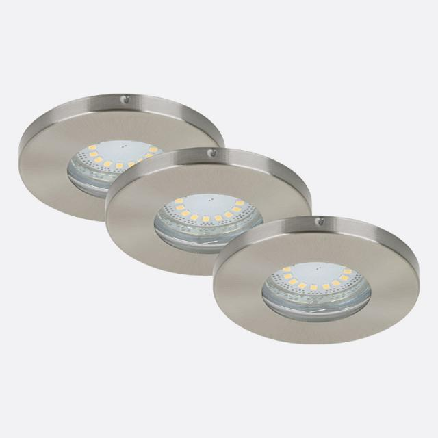 Briloner set of 3 LED recessed lights, round, non-adjustable