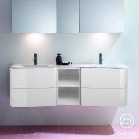 Burgbad Badu double washbasin with vanity unit with 4 pull-out compartments front white high gloss / corpus white high gloss, anthracite handle strip, WB white