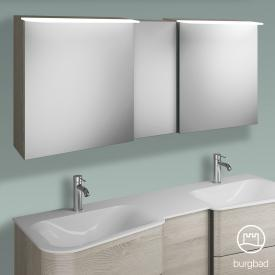 Burgbad Badu mirror cabinet with LED lighting with 3 doors corpus flannel oak decor, anthracite handle strip, without washbasin lighting