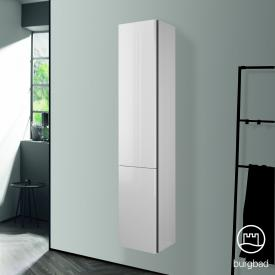 Burgbad Badu tall unit with 2 doors front white high gloss / corpus white high gloss, anthracite handle strip