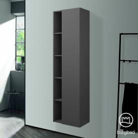 Burgbad Badu tall unit with 1 door front anthracite high gloss / corpus anthracite high gloss, anthracite handle strip