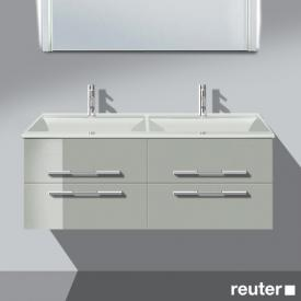 Burgbad Bel double washbasin with vanity unit with 4 pull-out compartments front light grey high gloss/corpus light grey high gloss/WB white