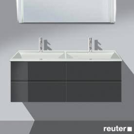 Burgbad Bel vanity unit with 4 pull-out compartments and washbasin front anthracite high gloss / corpus anthracite high gloss / WB white