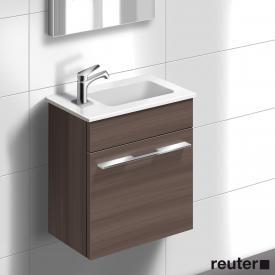 Burgbad Bel vanity unit, white basin right front marone truffle decor / corpus marone truffle decor / WB white