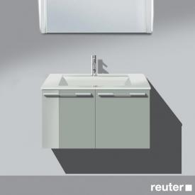 Burgbad Bel vanity unit, line handle with 2 doors and washbasin front light grey high gloss / corpus light grey high gloss / WB white