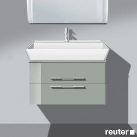 Burgbad Bel vanity unit with 2 pull-out compartment and washbasin front light grey high gloss / corpus light grey high gloss / WB white