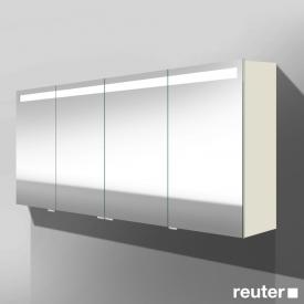 Burgbad Crono mirror cabinet with LED lighting with 4 doors matt white, without washbasin lighting