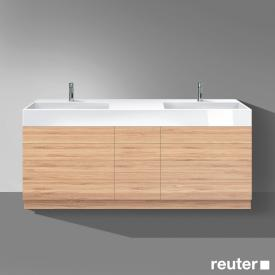 Burgbad Crono washbasin with vanity unit with 9 pull-out compartments front bamboo / corpus bamboo / WB white