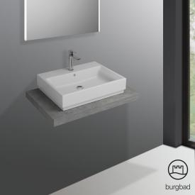Burgbad Cube countertop without cut-out concrete grey