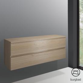 Burgbad Cube undercounter unit with 2 pull-out compartments front cashmere oak decor/corpus cashmere oak decor