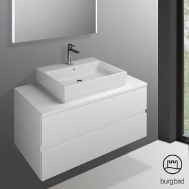Burgbad Cube vanity unit with 2 pull-out compartments front matt white / corpus matt white