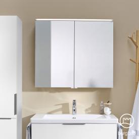 Burgbad Eqio Armoire de toilette avec éclairage LED, 2 portes blanc brillant, sans éclairage de lavabo