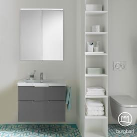 Burgbad Eqio bathroom furniture set 1, washbasin with vanity unit and mirror cabinet front grey high gloss / corpus grey gloss, handles chrome