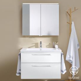 Burgbad Eqio bathroom furniture set 1, washbasin with vanity unit and mirror cabinet front white high gloss / corpus white gloss, bar handles chrome