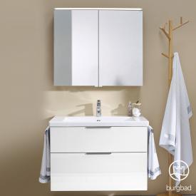 Burgbad Eqio bathroom furniture set 1, washbasin with vanity unit and mirror cabinet front white high gloss / corpus white gloss, handles chrome