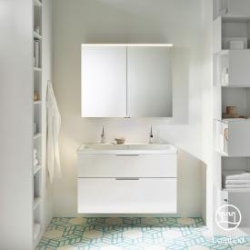 Burgbad Eqio bathroom furniture set 2, washbasin with vanity unit and mirror cabinet front white high gloss / corpus white gloss, handles chrome