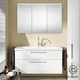 Burgbad Eqio bathroom furniture set 3 washbasin with vanity unit and mirror cabinet front white high gloss / corpus white gloss, bar handles chrome