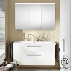 Burgbad Eqio bathroom furniture set 4 washbasin with vanity unit and mirror cabinet front white high gloss / corpus white gloss, bar handles chrome