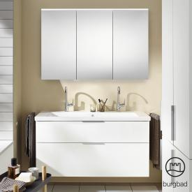 Burgbad Eqio bathroom furniture set 4 washbasin with vanity unit and mirror cabinet front white high gloss / corpus white gloss, handles chrome