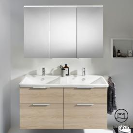 Burgbad Eqio bathroom furniture set 5 double washbasin with vanity unit and mirror cabinet front cashmere oak decor / corpus cashmere oak decor, handles chrome