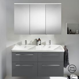 Burgbad Eqio bathroom furniture set 5 double washbasin with vanity unit and mirror cabinet front grey high gloss / corpus grey gloss, bar handles chrome
